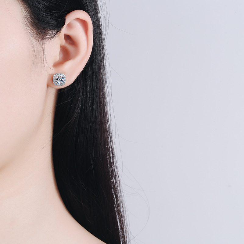 Bông tai bạc đính kim cương Moissanite 2 carat LILI_216225-04