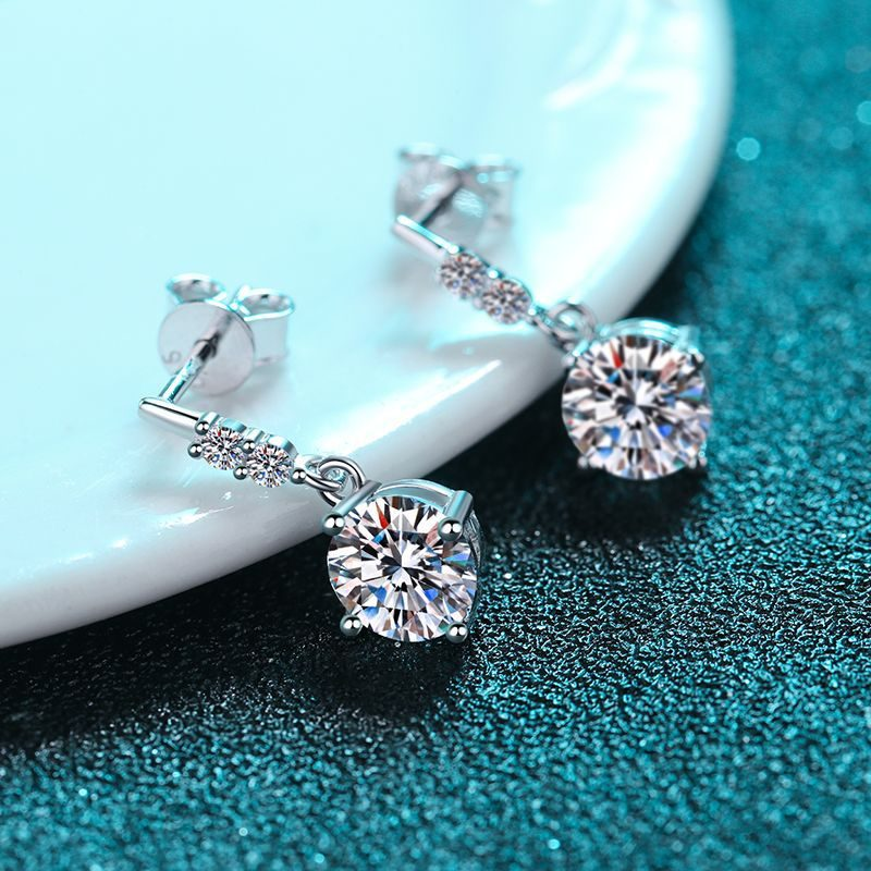 Bông tai bạc đính kim cương Moissanite 2 carat LILI_766432-02