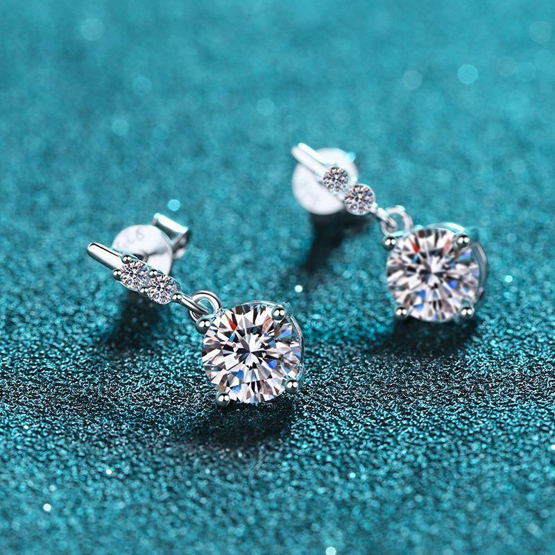 Bông tai bạc đính kim cương Moissanite 2 carat LILI_766432-03
