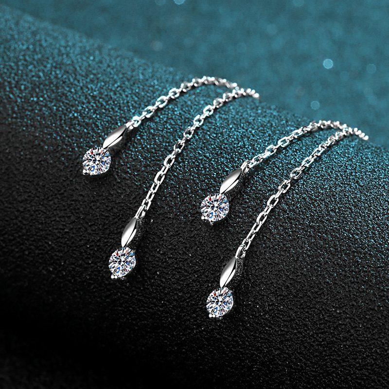 Bông tai bạc đính kim cương Moissanite 2 carat hình trái tim LILI_418498-02