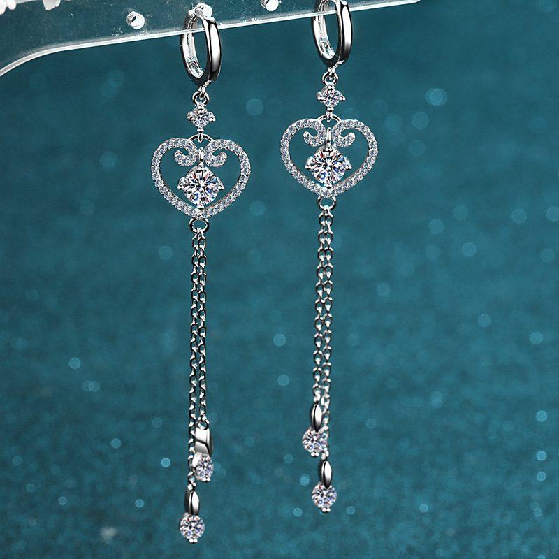 Bông tai bạc đính kim cương Moissanite 2 carat hình trái tim LILI_418498-03