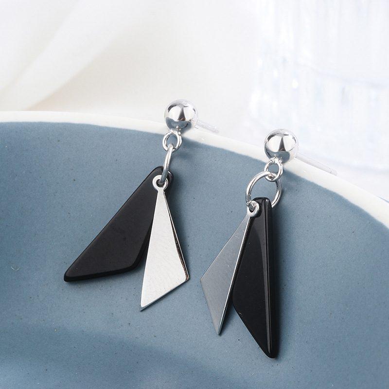 Bông tai bạc hình tam giác đối sắc LILI_854986-01