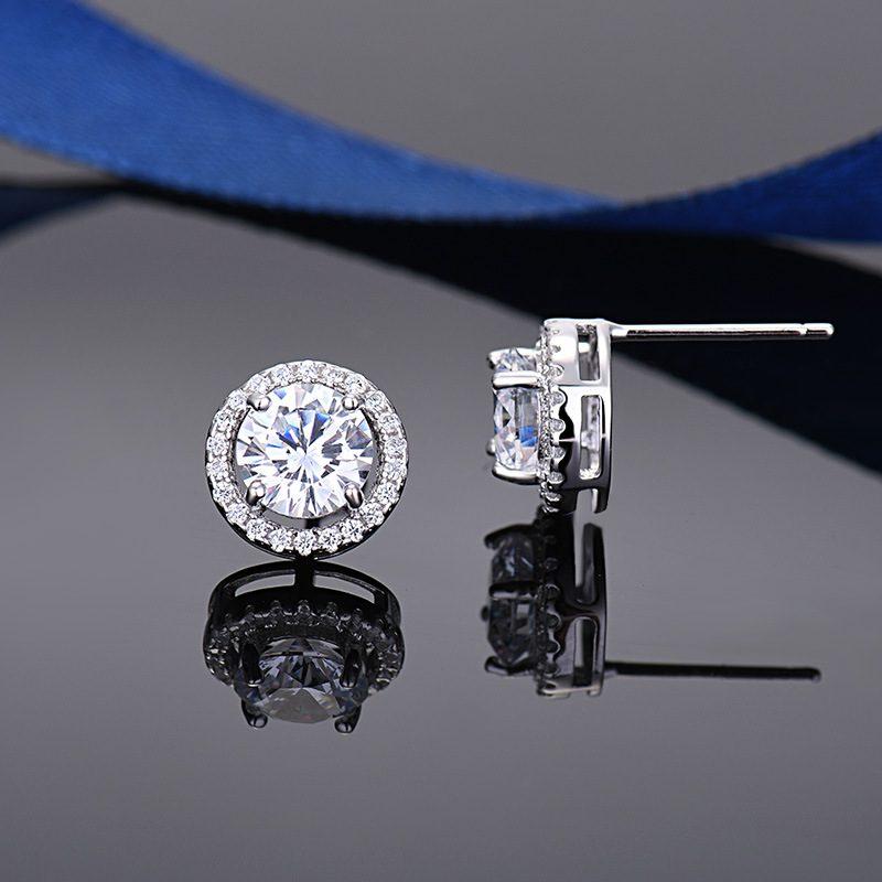 Bông tai bạc mạ bạch kim đính đá Zircon Angle LILI_549736-01