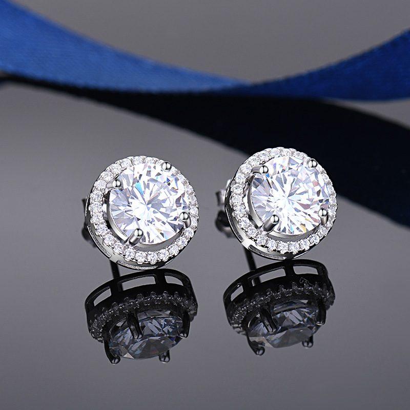 Bông tai bạc mạ bạch kim đính đá Zircon Angle LILI_549736-02