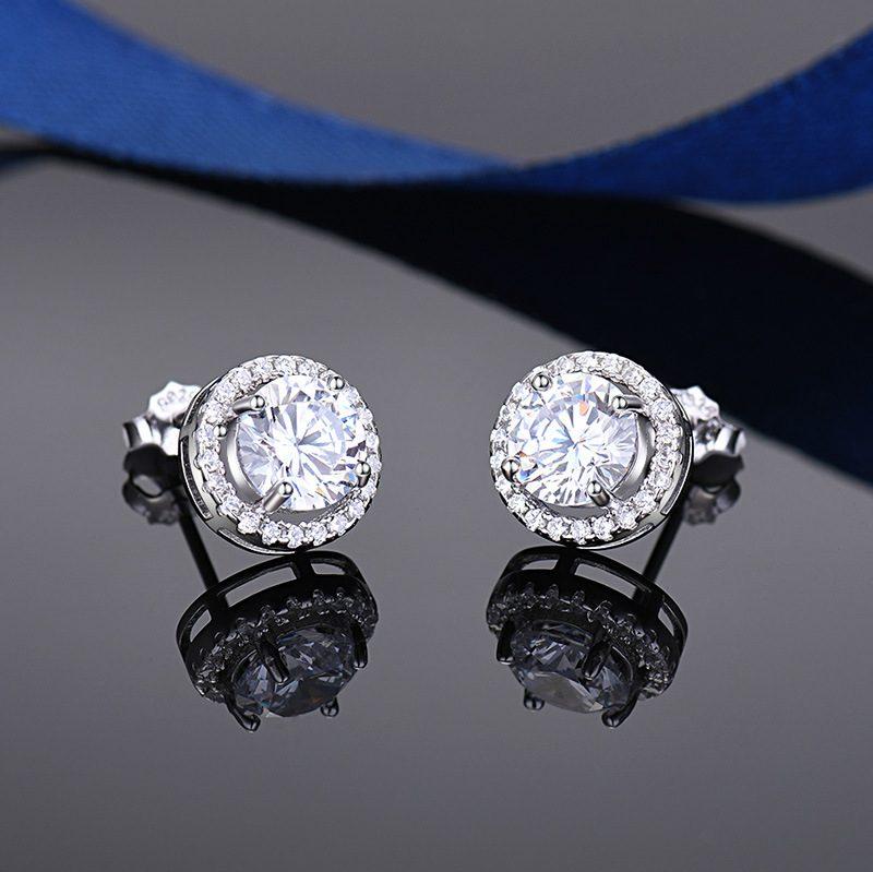 Bông tai bạc mạ bạch kim đính đá Zircon Angle LILI_549736-03