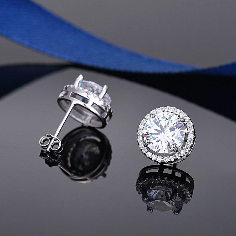 Bông tai bạc mạ bạch kim đính đá Zircon Angle LILI_549736-05