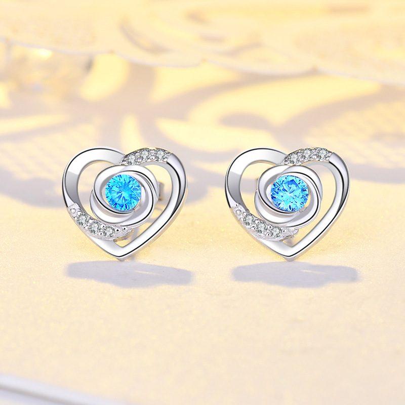Bông tai bạc mạ bạch kim đính đá Zircon Rose Heart LILI_725916-01