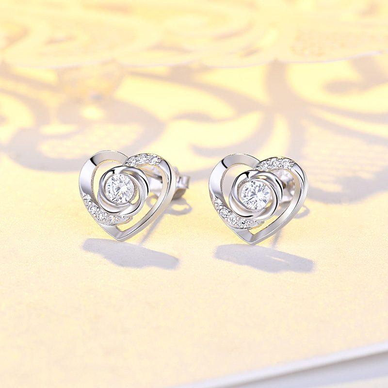 Bông tai bạc mạ bạch kim đính đá Zircon Rose Heart LILI_725916-02