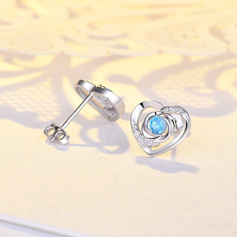 Bông tai bạc mạ bạch kim đính đá Zircon Rose Heart LILI_725916-03