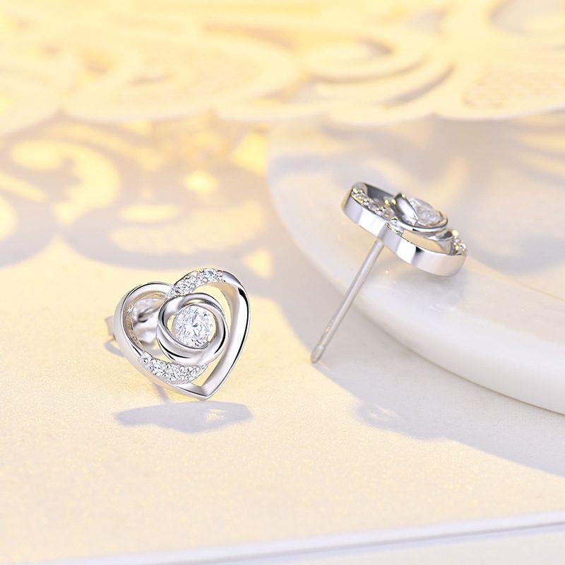 Bông tai bạc mạ bạch kim đính đá Zircon Rose Heart LILI_725916-04