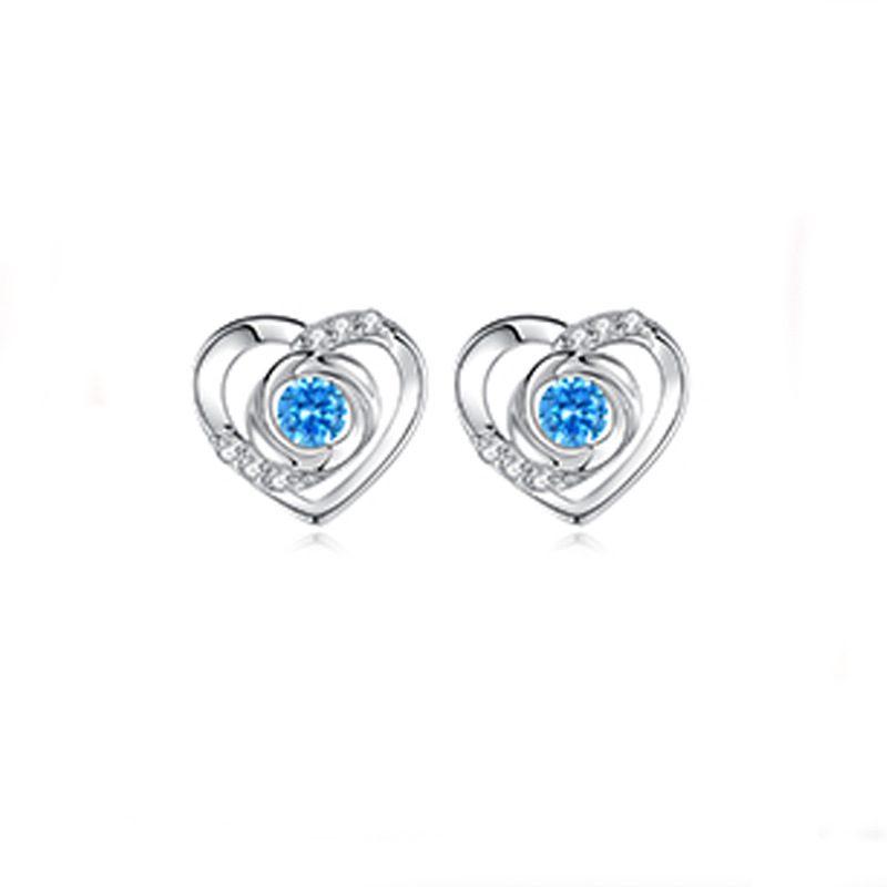 Bông tai bạc mạ bạch kim đính đá Zircon Rose Heart LILI_725916-05