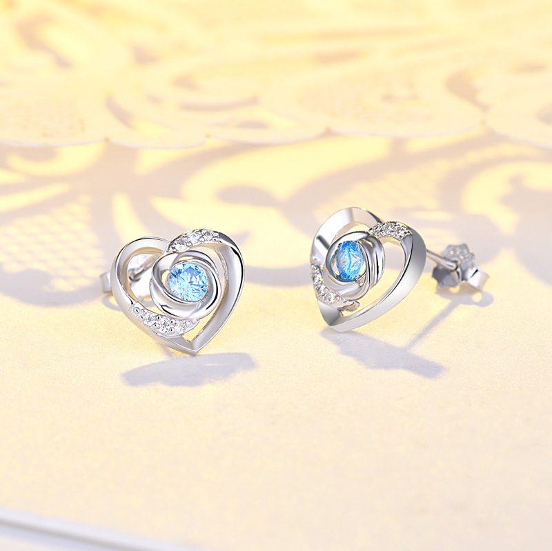 Bông tai bạc mạ bạch kim đính đá Zircon Rose Heart LILI_725916-06