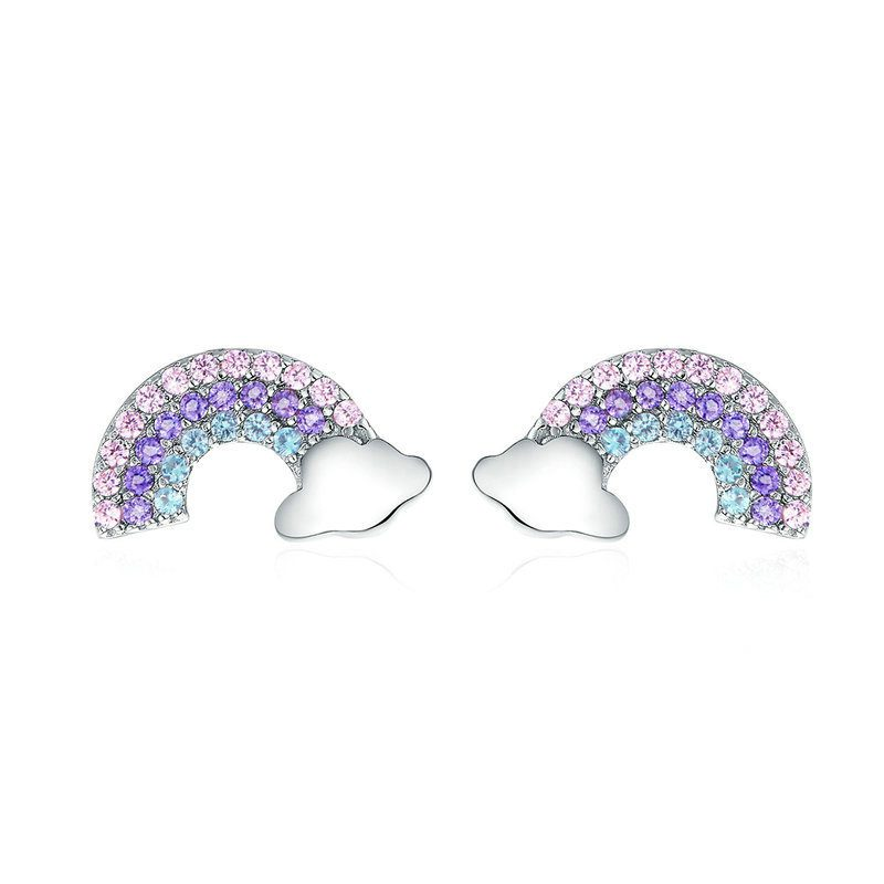 Bông tai bạc mạ bạch kim đính đá Zircon cầu vồng đa sắc LILI_656462-01