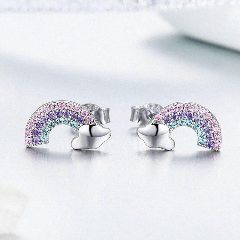 Bông tai bạc mạ bạch kim đính đá Zircon cầu vồng đa sắc LILI_656462-02