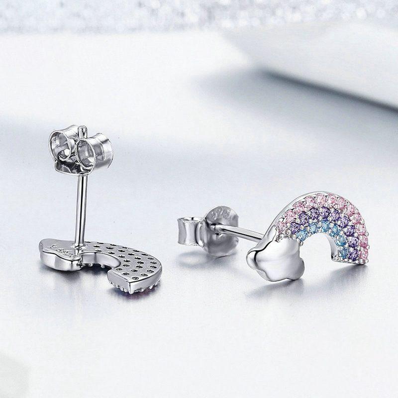 Bông tai bạc mạ bạch kim đính đá Zircon cầu vồng đa sắc LILI_656462-03