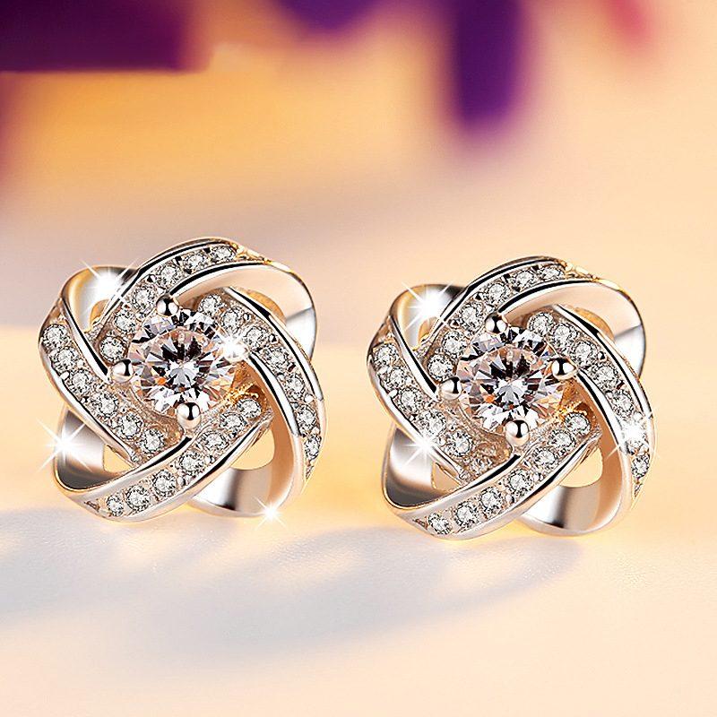 Bông tai bạc mạ bạch kim đính đá Zircon cỏ 4 lá LILI_553834-01