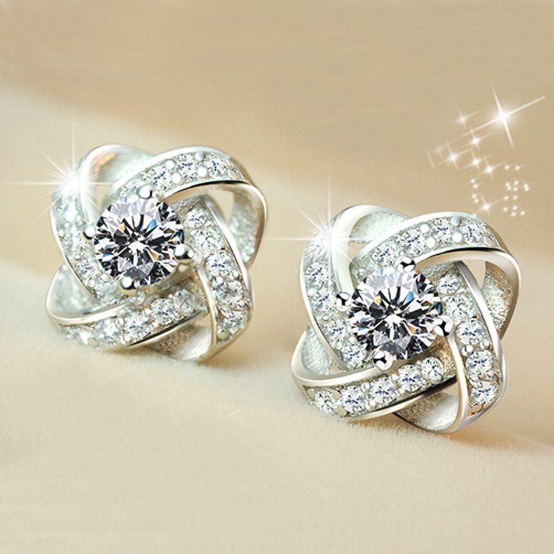 Bông tai bạc mạ bạch kim đính đá Zircon cỏ 4 lá LILI_553834-03