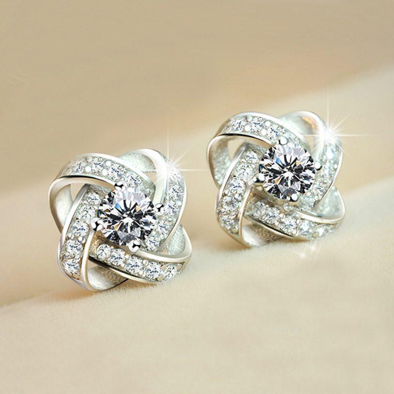 Bông tai bạc mạ bạch kim đính đá Zircon cỏ 4 lá LILI_553834-06
