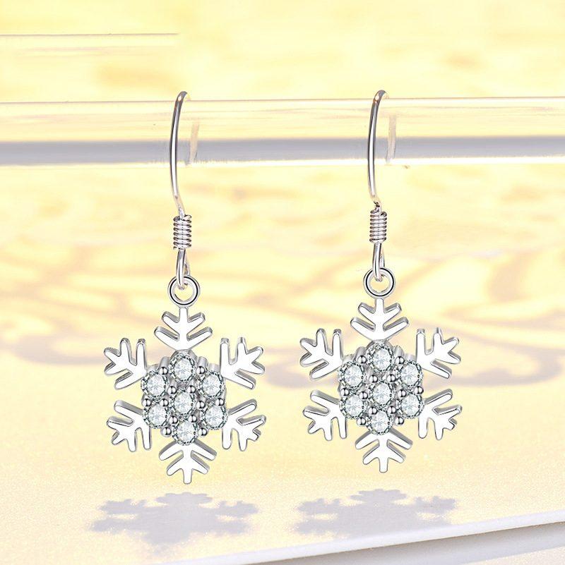 Bông tai bạc mạ bạch kim đính đá Zircon hình bông hoa tuyết LILI_339393-01