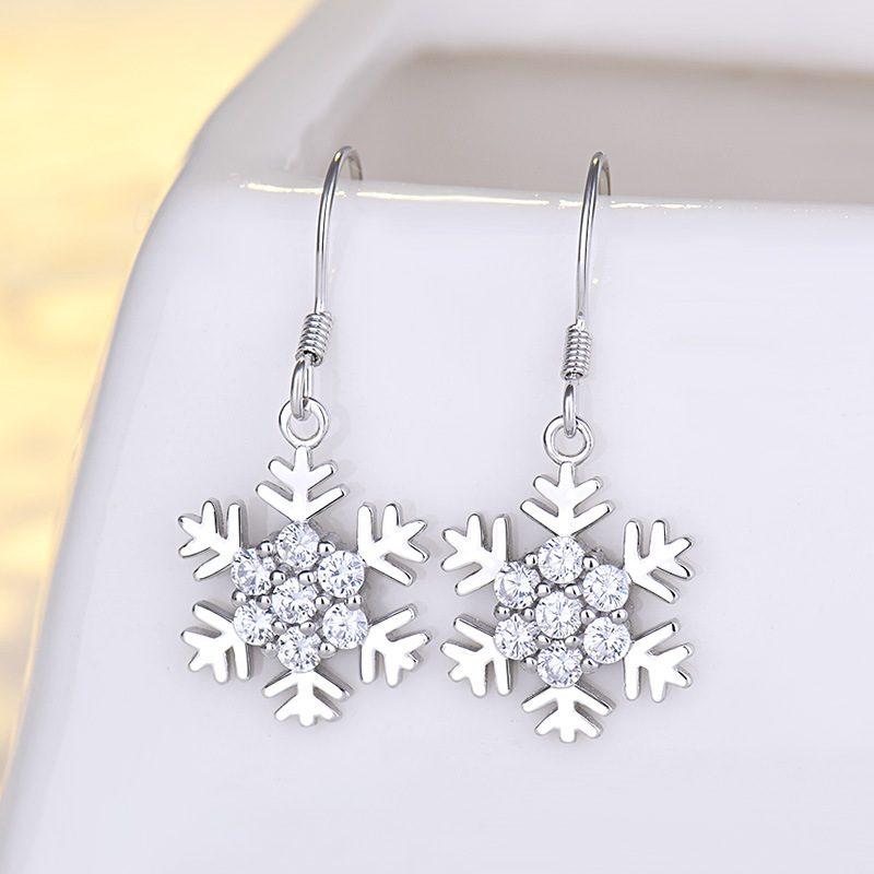 Bông tai bạc mạ bạch kim đính đá Zircon hình bông hoa tuyết LILI_339393-02