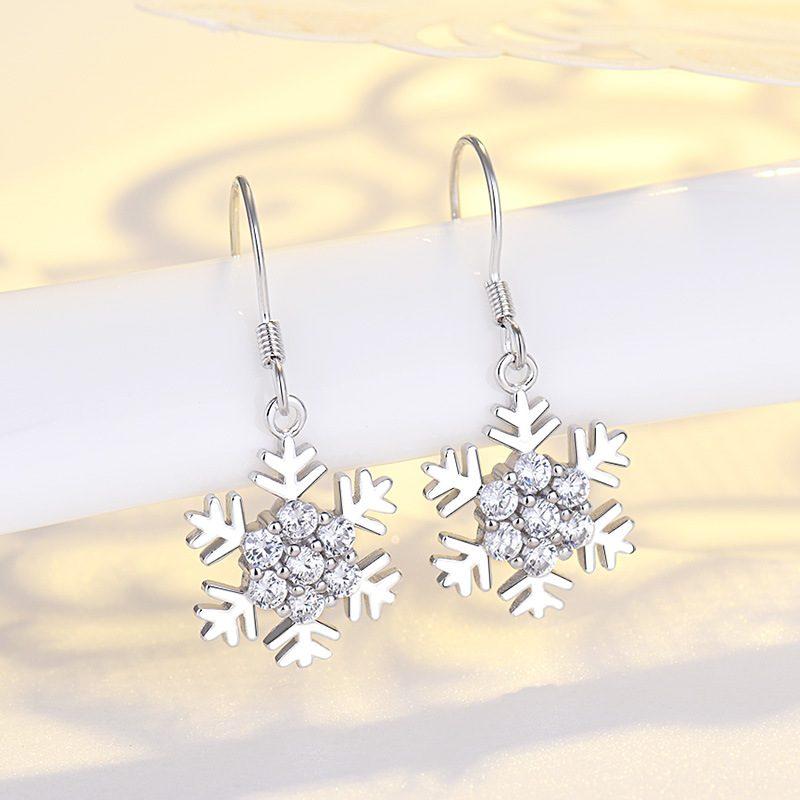 Bông tai bạc mạ bạch kim đính đá Zircon hình bông hoa tuyết LILI_339393-03