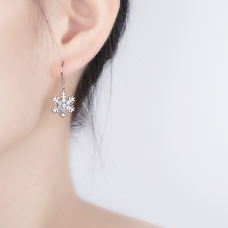 Bông tai bạc mạ bạch kim đính đá Zircon hình bông hoa tuyết LILI_339393-04