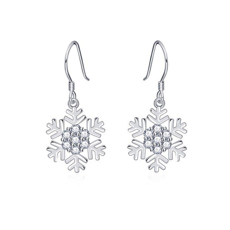 Bông tai bạc mạ bạch kim đính đá Zircon hình bông hoa tuyết LILI_339393-05