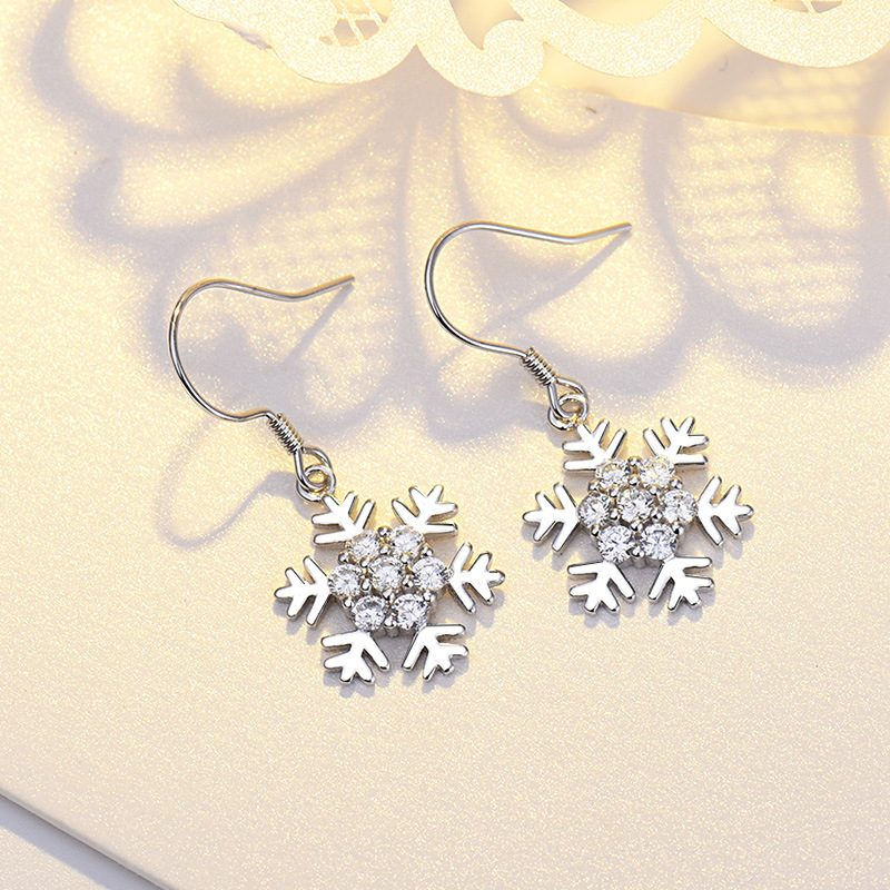 Bông tai bạc mạ bạch kim đính đá Zircon hình bông hoa tuyết LILI_339393-06