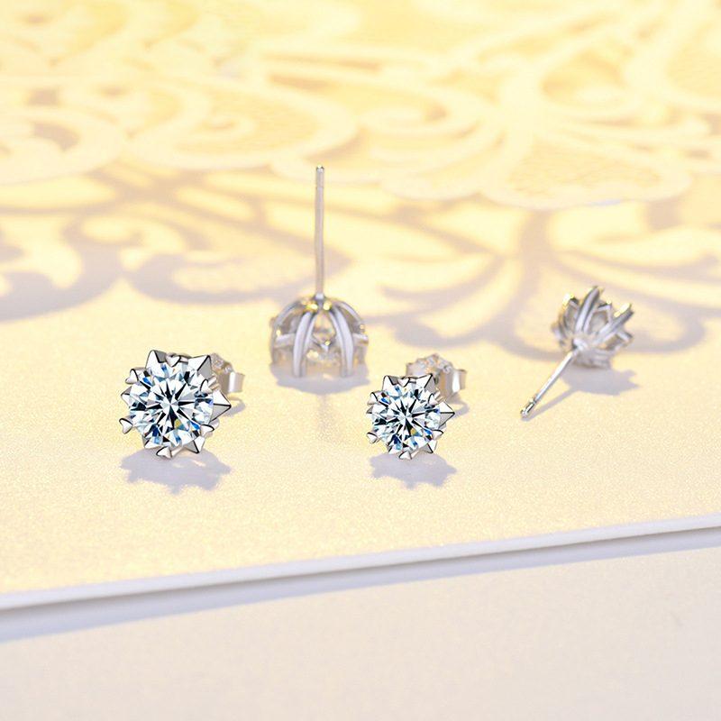 Bông tai bạc mạ bạch kim đính đá Zircon hình bông tuyết LILI_221372-01