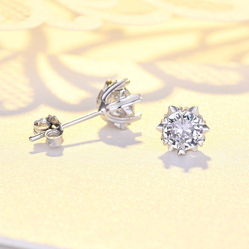 Bông tai bạc mạ bạch kim đính đá Zircon hình bông tuyết LILI_221372-02