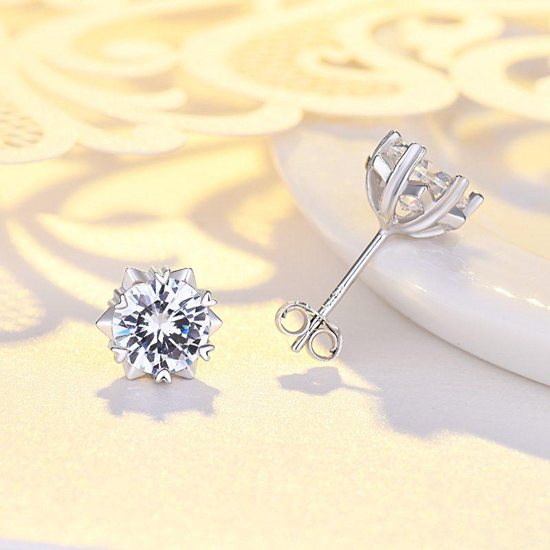 Bông tai bạc mạ bạch kim đính đá Zircon hình bông tuyết LILI_221372-03