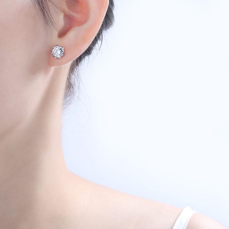 Bông tai bạc mạ bạch kim đính đá Zircon hình bông tuyết LILI_221372-04