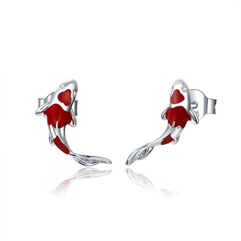 Bông tai bạc mạ bạch kim đính đá Zircon hinh cái Koi đỏ LILI_689961-01