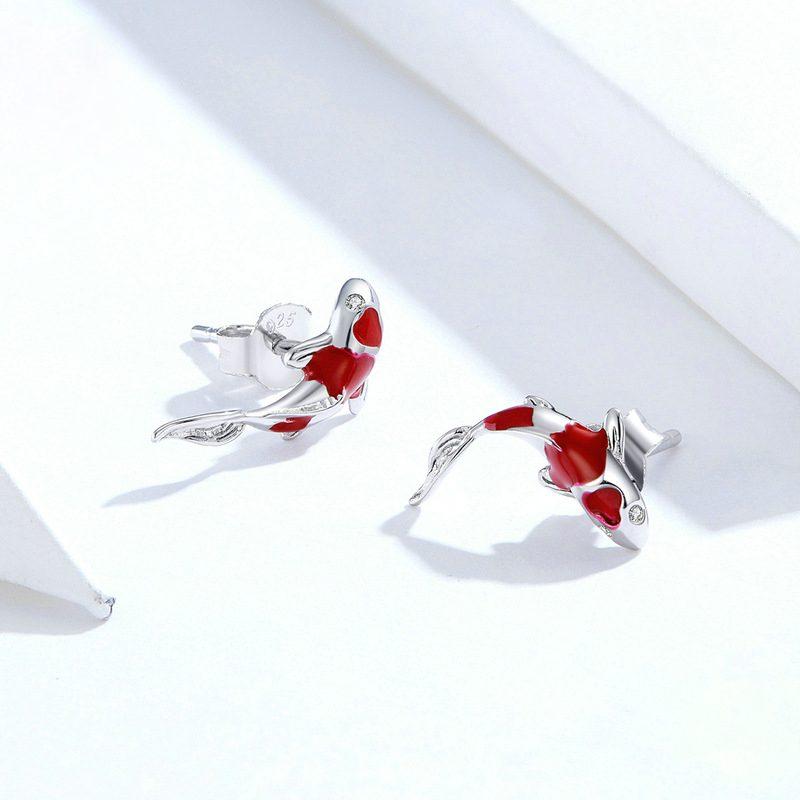 Bông tai bạc mạ bạch kim đính đá Zircon hinh cái Koi đỏ LILI_689961-02