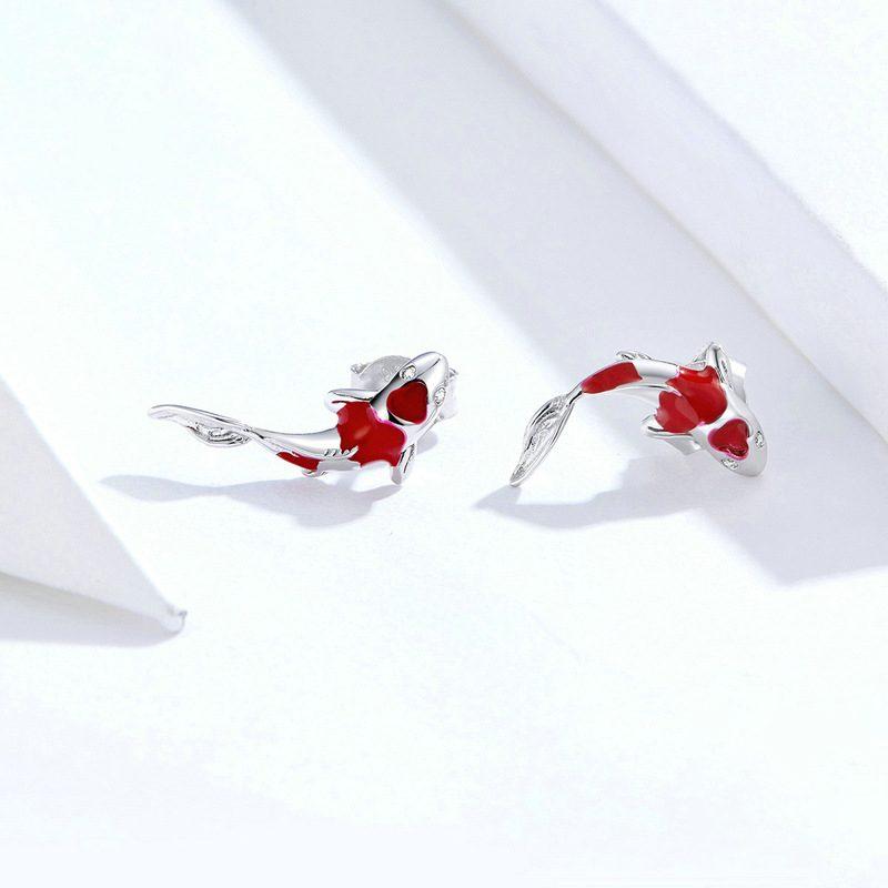 Bông tai bạc mạ bạch kim đính đá Zircon hinh cái Koi đỏ LILI_689961-03