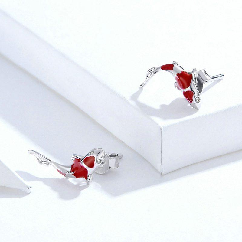 Bông tai bạc mạ bạch kim đính đá Zircon hinh cái Koi đỏ LILI_689961-05