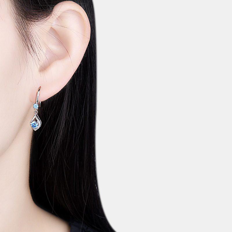Bông tai bạc mạ bạch kim đính đá Zircon hình giọt nước LILI_416496-04