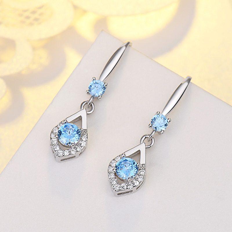 Bông tai bạc mạ bạch kim đính đá Zircon hình giọt nước LILI_416496-06
