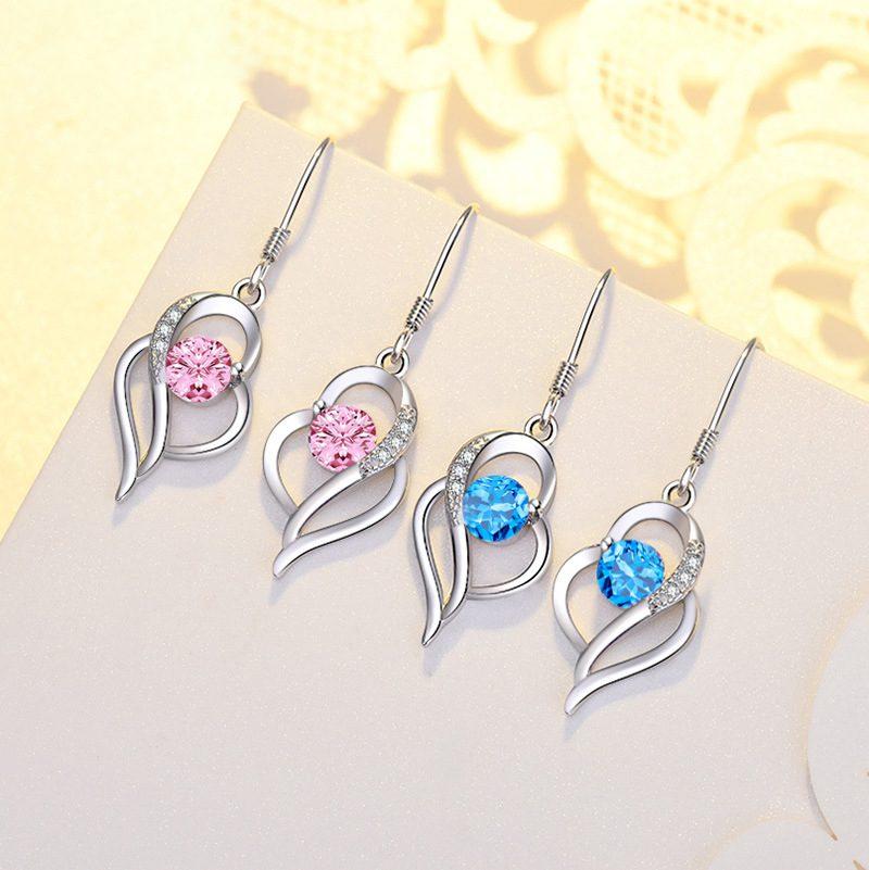 Bông tai bạc mạ bạch kim đính đá Zircon hình trái tim LILI_991582-01