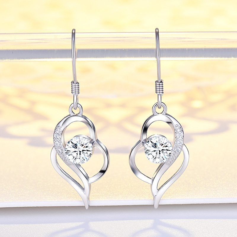 Bông tai bạc mạ bạch kim đính đá Zircon hình trái tim LILI_991582-02