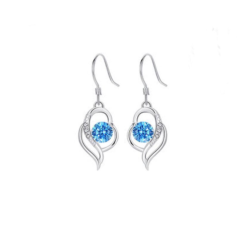 Bông tai bạc mạ bạch kim đính đá Zircon hình trái tim LILI_991582-04