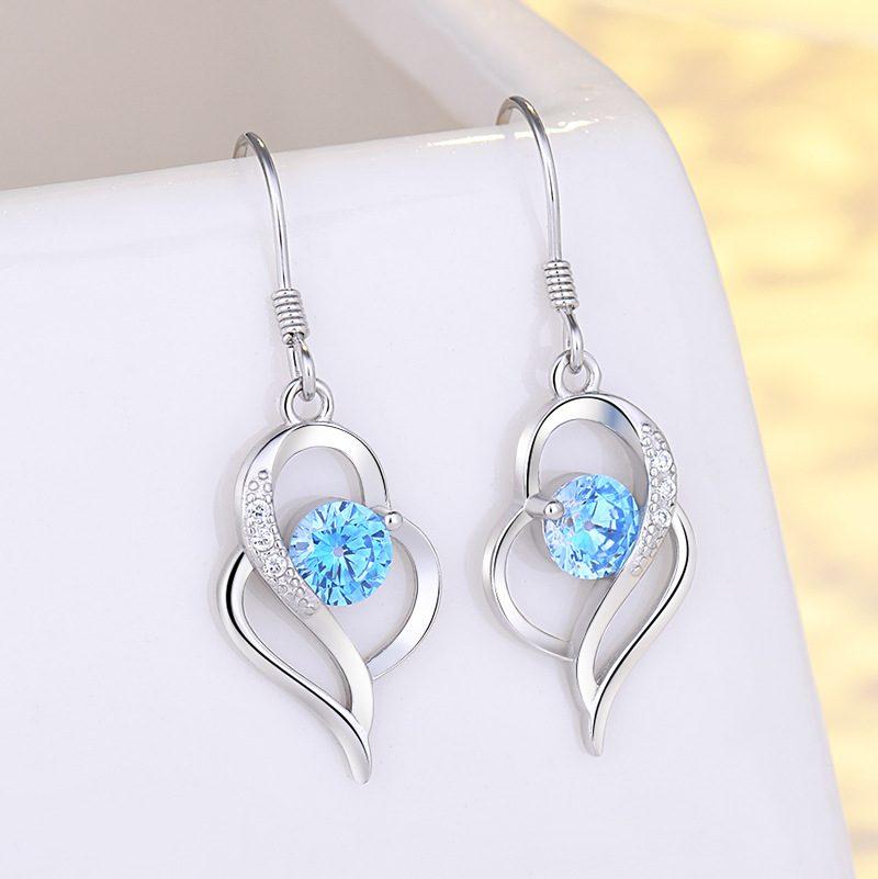 Bông tai bạc mạ bạch kim đính đá Zircon hình trái tim LILI_991582-05