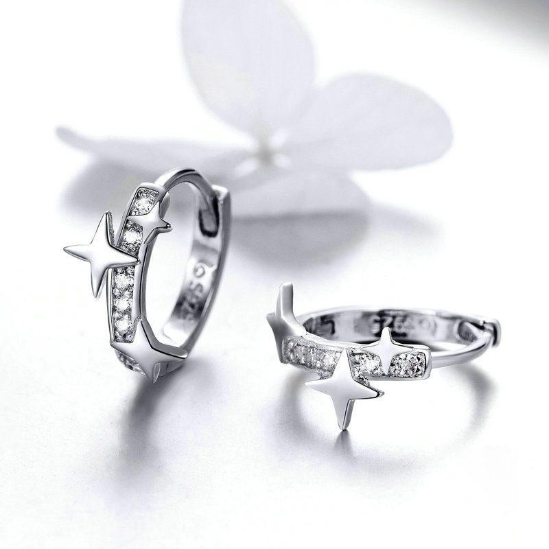 Bông tai bạc mạ bạch kim đính đá Zircon ngôi sao 4 cánh LILI_166353-03
