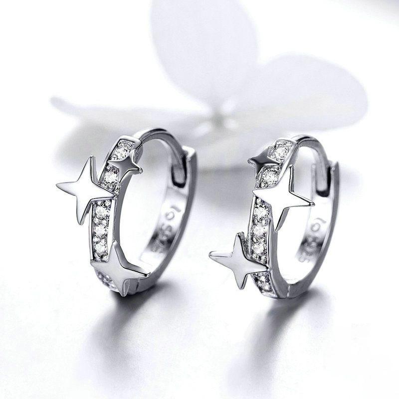 Bông tai bạc mạ bạch kim đính đá Zircon ngôi sao 4 cánh LILI_166353-04