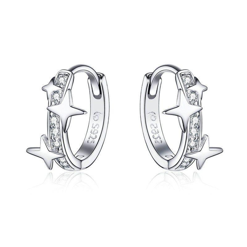 Bông tai bạc mạ bạch kim đính đá Zircon ngôi sao 4 cánh LILI_166353-07