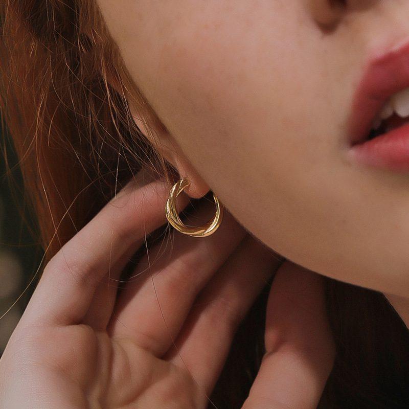 Bông tai bạc mạ vàng hình xoắn Baby Love LILI_874139-01