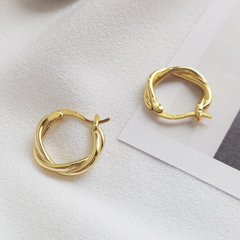 Bông tai bạc mạ vàng hình xoắn Baby Love LILI_874139-03