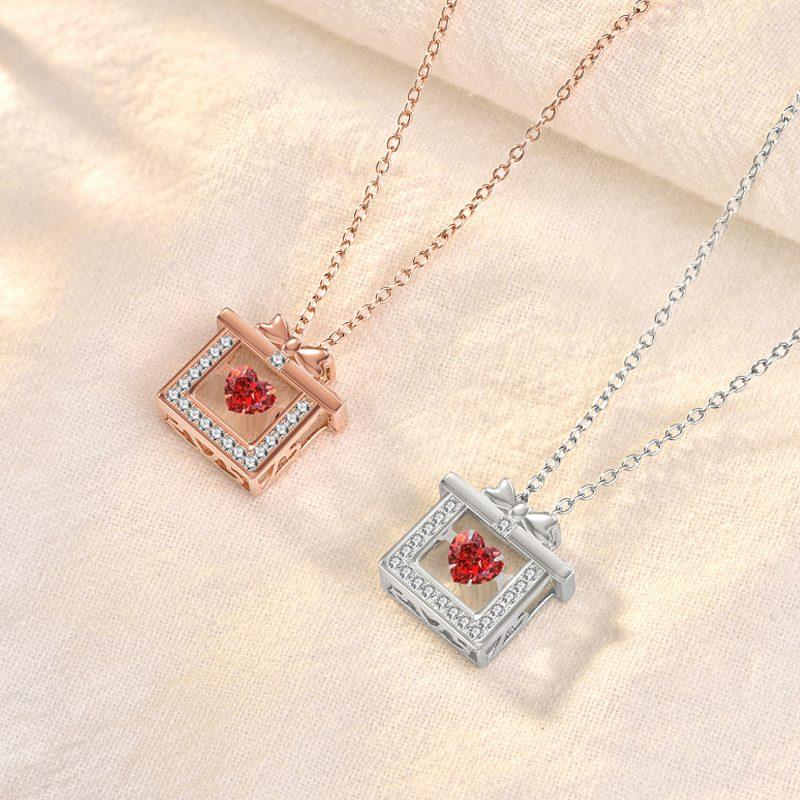 Dây chuyền bạc mạ vàng hộp quà trái tim LILI_319766-2