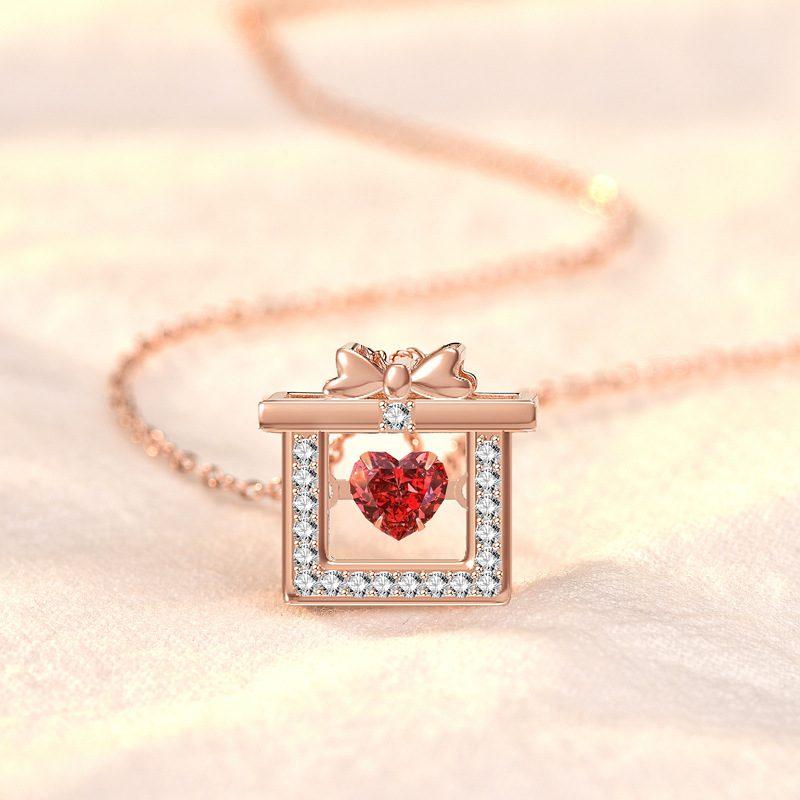 Dây chuyền bạc mạ vàng hộp quà trái tim LILI_319766-3