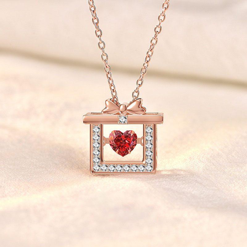 Dây chuyền bạc mạ vàng hộp quà trái tim LILI_319766-8